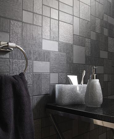 Holden decor glitter tile tiling on a roll wallpaper 89240 for Grey kitchen wallpaper