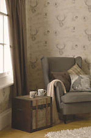 Holden Decor Richmond Charcoal Cream Linen Stag Wallpaper