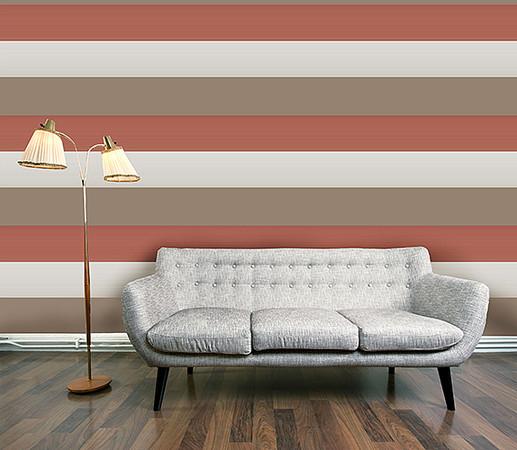 Olivia ii cream burnt orange gold cream stripe wallpaper 6160 for Fine decor international inc