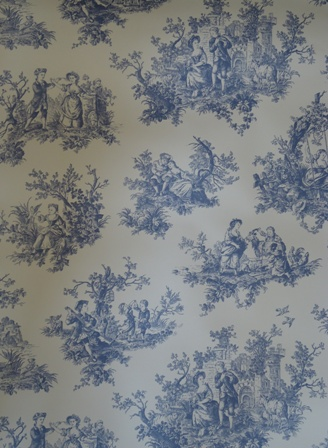 Provencale countryside dark blue toile de jouy wallpaper for Toile shabby chic
