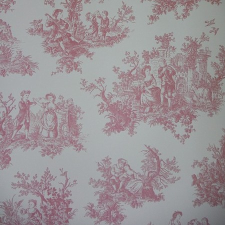 Provencale raspberry cerise toile de jouy shabby chic for Toile shabby chic
