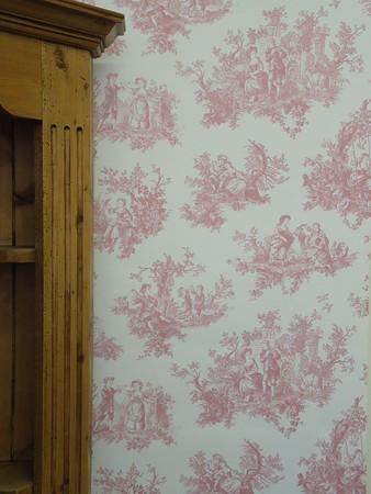 Provencale Raspberry Cerise Toile De Jouy Shabby Chic