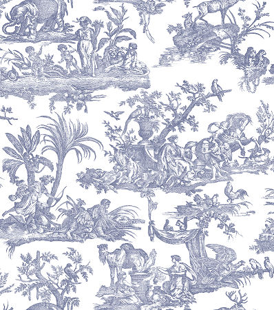 Amelia dark blue toile de jouy wallpaper shabby chic for Toile shabby chic
